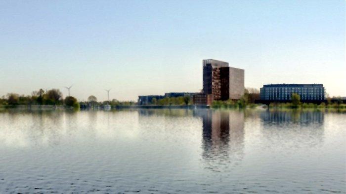 Neubau an der Elbe - Visualisierung des von MAGNA Real Estate geplanten Neubaus in Hamburg-Finkenwerder, das ein bestehendes Hochhaus ersetzen wird / Bildrechte: MAGNA Real Estate AG / Atelier Kempe-Thill B.V., Rotterdam, Urheber: Sugarvisuals